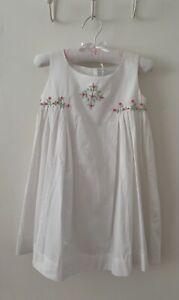 *SALE* Powell Craft Girls WHITE Grey Dress Sundress Summer  2-3yrs /& 4-5yrs