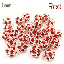 10 Pcs/Sale Round Rhinestone Ball Beads Jewelry Making Bracelet Necklace