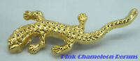 VINTAGE gold tone lizard brooch pin
