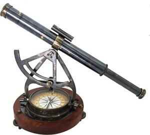 "Antique Nautical Brass Alidade Compass Theodolite Telescope 14"" Decorative"
