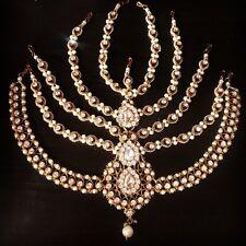 Diamante Jhoomar Head Piece Chain MathaPatti Damini Gold Bridal Wedding