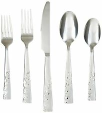Service for 4 Flatware Set 18/10 Stainless Steel Silverware 20 Piece , leaf