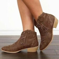 Ladies Floral Block Heel Round Toe Zip Combat Western Booties Casual Big Size