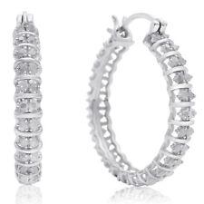 1/2 Carat Natural Diamond Hoop Earrings, 1 Inch
