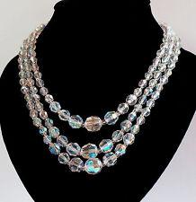 Sparkling, Vintage, 3 Strand, Aurora Borealis Necklace  (L251)