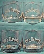JACK DANIEL'S Old No 7 Brand Low Ball Glasses Set of 4 White Label Man Cave Bar