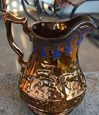 "Vintage German Copper Metallic Ceramic 8"" Pitcher Hand painted Hunter Stag Scene"