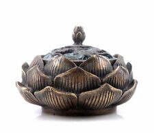 Vintage Brass Crafted Lotus Flower & Leaves Shaped Incense Burner Cone Incense