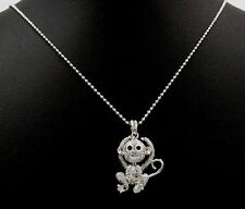 I Love You Adorable Monkey Austrian Crystal Pendant Charm Silver Necklace M09833