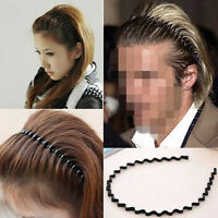 1PC Mens Women Unisex Black Wavy Hair Head Hoop Band Sport Headband Hairband NEW