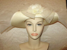 "Derby Hat CREAM Wide Brim 22 1/2"" Circumference FLIPPED UP WIDE BRIM Acrylic"