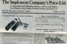 1913 richmond virginia farm machinery catalog IMPLEMENT COMPANY price list PLOWS