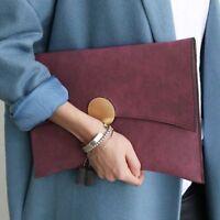 Women's Envelope Clutch Bag Soft Pu Leather Chain Shoulder Totes Handbags Solid