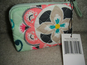 """VERA BRADLEY COIN PURSE in the """"MINT FLOWERS"""" PATTERN!  NWT! $15 RETAIL"""