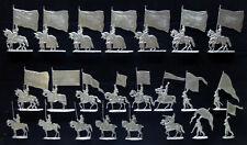 23 Zinnfiguren Fahnen Flaggen Banner Burgund Ritter Murten 30mm unbemalt