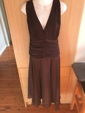 Paco PM Cocktail Dress In Chocolate Brown Lined Pink Size 18