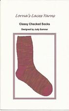 NEW Lorna's Laces Yarn Knitting Pattern Classy Checked Socks by Judy Sumner
