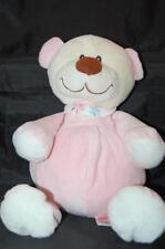 "Sugar Loaf Tan Teddy Bear Pink Big Brown Nose Rattle 14"" Plush Stuffed Lovey Toy"