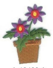Purple Flower in Pot Embroidery Patch Applique