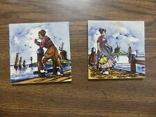 "2 Vtg Delft Tiles Man Woman on dock Sailing Ships 4"" Hand painted Holland"