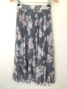Forever New Pleated Floral Midi Skirt Size 6  multicoloured