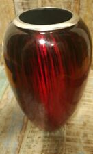 RECYCLED ALUMINIUM VASE WITH RED ENAMEL FINISH FAIR TRADE HANDMADE 28 cm HIGH