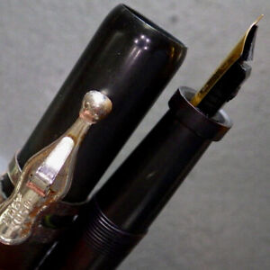 INKOGRAPH Oversize Ebonite Lever Fountain Pen Threaded OSMIROID F Nib Serviced