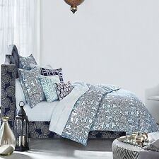 JR by John Robshaw Sarasi QUEEN Duvet Cover 100% Cotton Turquoise $375 C719