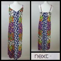 Next Bright Multi Colour Floral Patchwork Print Strappy Maxi Dress Size UK 14