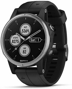 Garmin Fenix 5S Plus Compact Multisport Watch with Music, Silver with Black Band