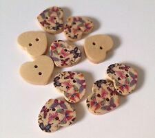 10 X 17mm X 15mm Painted Heart Wooden Buttons - Australian Supplier