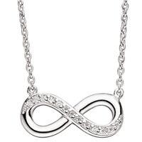 Collier Unendlichkeit Halskette mit Anhänger 925 Silber mit Zirkonia 41 cm