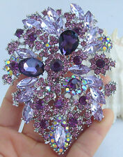 "Wedding 4.13"" Purple Rhinestone Crystal Flower Leaf Brooch Pin Pendant 03905C7"
