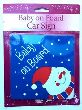 CHRISTMAS SNOWMAN BABY ON BOARD CAR SIGN, WINDOW SAFETY SIGN, NEW
