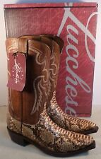 LUCCHESE M3045.S54 MEN'S NATURAL CARAMEL JUNGLE PYTHON WESTERN BOOTS SIZE 9D NEW