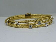 HDL 18K GOLD AND DIAMOND TRIPLE CABLE BRACELET 14 DWT