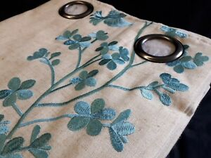 Quality Teal Floral Embroidered Ring Top Curtains in Natural/Cream Fully Lined