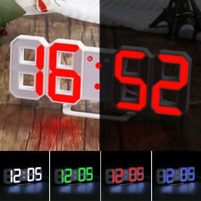 Digital LED 3D Display Clock Alarm Desk Wall Brightness Snooze USB Home Decor