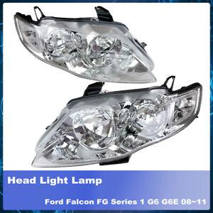 Set Pair LH+RH Head Light Lamp Chrome Fits Ford Falcon FG Series 1 G6 G6E 08~11