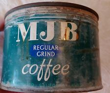 Brilliant Display Vintage 1lbs Mjb Key Wind Coffee Tin Can w/Matching Lid