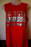 "PINK Victoria's Secret ""Las Vegas"" Muscle Tank Shirt Bling Red Bling (M) NEW"