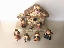 8 Piece Lighted Nativity Set Ceramic Christmas Figurines Baby Jesus Mary Joseph