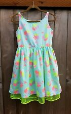 CAT & JACK GIRL EASTER PARTY DRESS SIZE 12-14 XL LINED GREEN BLUE PINK