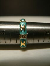 Ring, Size 8, Turquoise Enamel w/ Gold Highlights & bands w/ 3 Stones Each