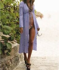 Victoria's Secret Moda International 100% Silk Caftan swim cover up purple NWT