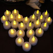 24 Flameless LED Tealights Battery Operated Candles Yellow Flickering Decoration