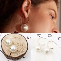 Fashion Women Pearl Circle Statement Geometric Drop Dangle Earrings Jewelry