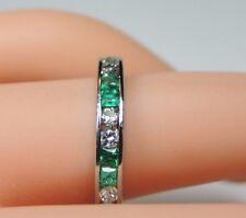 Antique Art Deco Emerald Diamond Eternity Wedding Band Platinum Size 6 UK-L1/2