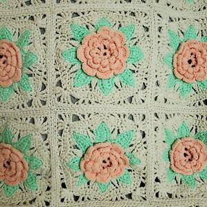 "Vtg Handmade Crochet 3D Peach Rose Afghan Throw Blanket 44"" x 33"" Floral Square"