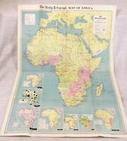 1964 Large Vintage Map of Africa African Continent 1960s Daily Telegraph
